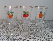 50s 60s Retro Vintage Kitsch Britvic Fruit Cocktail Glasses Set x 3