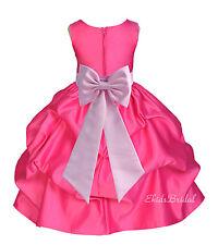 Flower Girl Princess Dress FUCHSIA Pageant Wedding Bridesmaid Child FORMAL PARTY