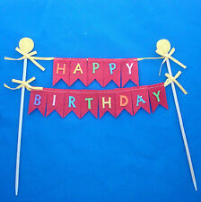 "Happy Birthday felt cake topper banner 8"" wide with 1"" wide letters NEW"
