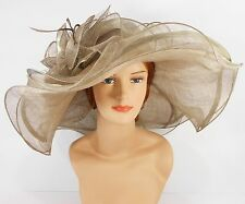 New Woman Church Kentucky Derby Wedding Sinamay 3 Layers Dress Hat 3034 mushroom