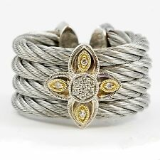 Flexible Cuff Stainless Steel 18k Yellow Gold Silver Cable Diamond Ring