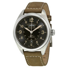 Hamilton Khaki Field Mechanical Black Dial Green Leather Mens Watch H70505833