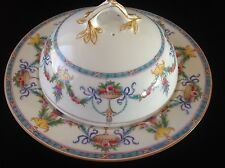 Vintage Minton Domed Butter Cheese Muffin Dish Lidded Turquoise Yellow Pink Swag
