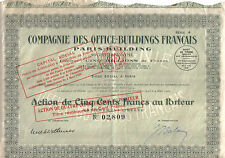 France 1929 Office-Buildings Français Paris-Building Co 500 fr uncancelled coup