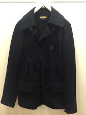 Rugby Ralph Lauren Black Naval Peacoat Stretch Trench Robe Oversized S / M