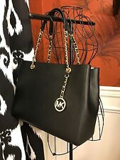 NWT MICHAEL KORS SAFFIANO LEATHER SUSANNAH LARGE TOTE BAG IN BLACK