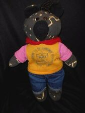 """Homemade NAACP Plush Black Teddy Bear with Hoodie and Jeans Lightly Loved 16"""""""