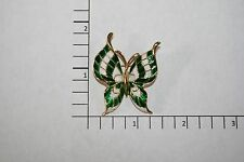 Brooch Pin - Signed Crown Trifari - Butterfly - Green & White Enamel - Gold Tone