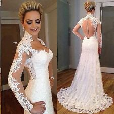 Elegant Lange Ärmel Weiß Spitze Kapelle Hochzeitskleid Brautkleider 32 34 36 ++