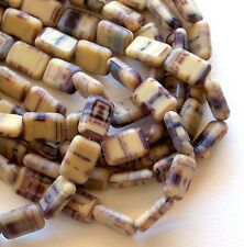 Picasso Beige Brown 8x12mm Table Cut Czech Glass Beads - Grand Canyon Mud Pie