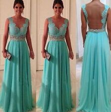 Lace Bridesmaid Prom Ball Gown Formal Evening Party Cocktail Long Maxi Dress S
