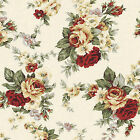 """CANVAS HEAVY COTTON UPHOLSTERY CRAFT FABRIC ANTIQUE CHIC FLORAL ROSE YELLOW 44""""W"""