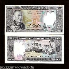 LAO LAOS 5000 KIP P19 1975 KING MUSIC INSTRUMENT UNC TONE CURRENCY MONEY NOTE