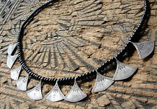 Silver Niger  Tuareg  hand engraved  drop triangle necklace + black agate beads