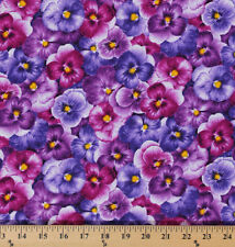 Cotton Violas Pansies Pansy Flowers Floral Cotton Fabric Print by Yard D587.38