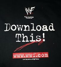 WWF Download This! Vintage T-Shirt wwf.com wwe XL Scratch Logo Attitude Era