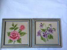 Needlepoint Embroidered Garden Flowers 2 Wooden Framed Picture Wall Decor