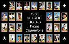 1968 Detroit Tigers World Series Baseball Card Poster 17x11 Unique Decor Art