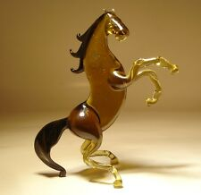"Blown Glass Figurine  ""Murano"" Animal Brown Rearing HORSE with Black Main & Tail"