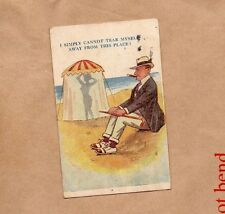 """1920 Comic seaside risque card """" I Can't Tear myself away from this place   b2"""