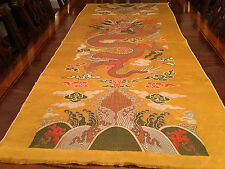 An Exceptional Large Chinese Qing Dynasty Embroidered Yellow Dragon Kesi Panel.