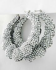 "NEW Rhodiumized Silver Chunky Bling Acrylic Studs 3 1/4"" Hoop Earrings"