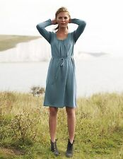 NEW $148 BODEN MUTED TEAL COTTON WOOL BLEND KNIT GATHERED TUNIC DRESS - US 4R