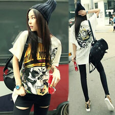 Womens Big Skull With Rock Print Cotton Long White color T Shirt L TS004-06L