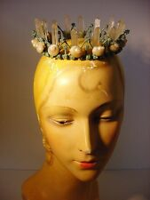 Vintage Inspired Mermaid Fairy Quartz Crystal Crown Shell Tiara Beach Wedding