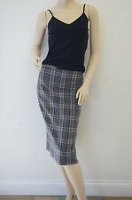 TOPSHOP Grey Fitted Checked A Line Formal Work Smart Pencil Skirt Size 16 NEW E6