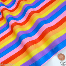 Stoff 1m Regenbogen Gestreift Polybaumwolle Gelb Violett Blau 112cm breit