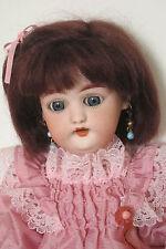 """perruque Mohair châtain foncé poupée ancienne-16/17cm-Mohair doll wig Sz 6.5"""""""