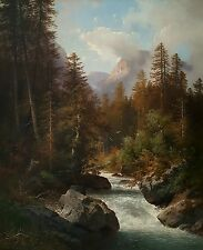 19th Century CARL HASCH Landscape Dated 1894 Large Painting