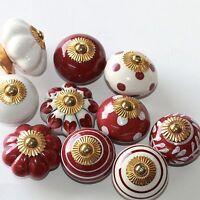 Möbelknopf,Keramik-Möbelgriff,Knauf, Möbelknäufe Indien Bordeaux-Weiß     2.Wahl