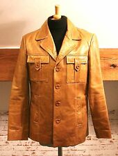RIVER ISLAND SIZE MEDIUM TAN LEATHER 1970s STYLE JACKET IN EXCELLENT CONDITION