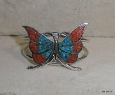 STERLING SILVER OLD PAWN NAVAJO TURQUOISE & CORAL BUTTERFLY CUFF BRACELET