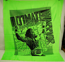 Vintage WWF WWE Ultimate Warrior 1990 Wrestling Catalog Green Fabric Wall Banner