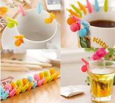 2 pcs Cute Snail Shape Silicone Tea Bag Holder Cup Mug Candy Colors Gift Set New