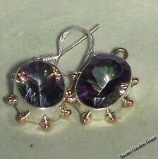 925 Sterling Silver Faceted Mystic Topaz Earrings   Tri- Color