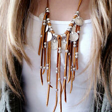 Fashion Womens Boho Chic Faux Suede Coin Beads Tassel Pendant Sweaters Necklace