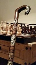 ''THE TIGER'' WOODEN WALKING STICK WITH ORNAMENTS! STUNNING PIECE OF ART!!!