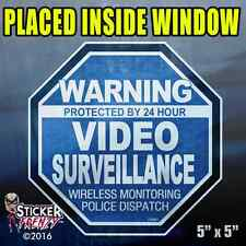 "5 Pack Warning 24 hour Video Surv. INSIDE Stickers  ""OCT"" BLUE Alarm Decal FS061"