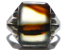 ART NOUVEAU DECO OLD STERLING SILVER ESTATE MENS AGATE SQUARE SHIELD RING SZ 11