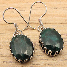 Green EMERALD Gems VINTAGE STYLE Earrings, 925 Sterling Silver Plated Jewelry