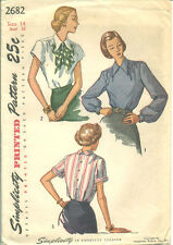 S 2682 sewing pattern Classy 40's BLOUSE bishop cap short Sleeves sew size 14/32