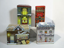 Tins Houses Biscuit Cookies Vintage Set of 4 Hedley Tea Library Country Kitchen