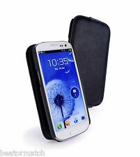 Tuff-Luv Genuine Leather Tuff-Grip Case Samsung galaxy S3 cover Black H9_21