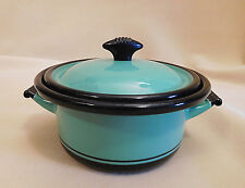 Old Antique Green Enamel 7 cups Sauce Pot w Lid, Vollrath Co. Kook King 1930-40s