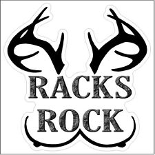 Racks rock Funny Deer Moose Elk Antlers Hunting Decal Sticker