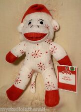 """Dan Dee CHRISTMAS WHITE SOCK MONKEY w RED SNOWFLAKES 10"""" Plush Toy~Holiday Time"""